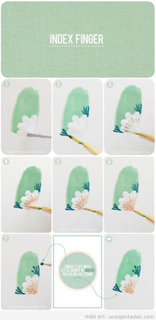 Tutorial paso a paso para aprender a dibujar una flor en la esquina de la uña