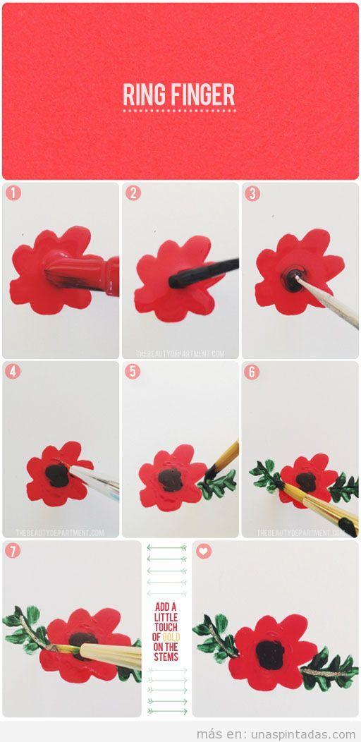 Tutorial paso a paso para dibujar una flor con rama y hojas en las uñas