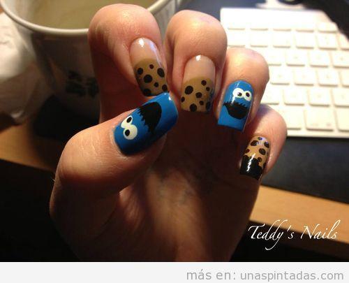 Diseño de uñas, monstruo de las galletas