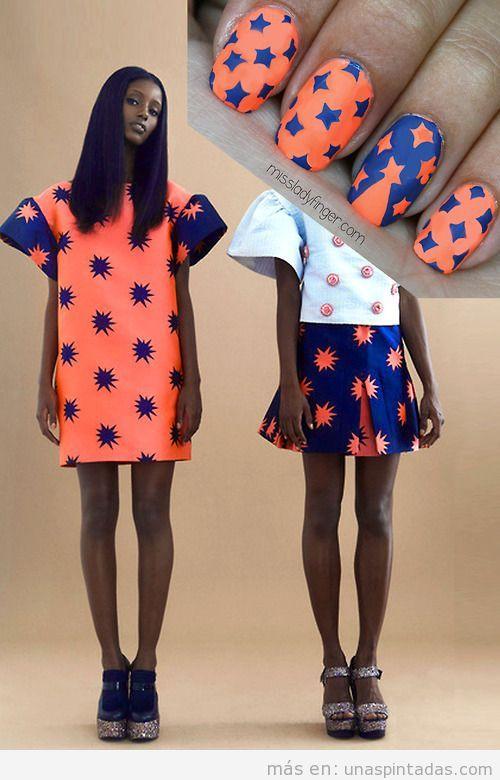 Diseño de uñas en naranja y azul inspirado en un vestido de House of Holland