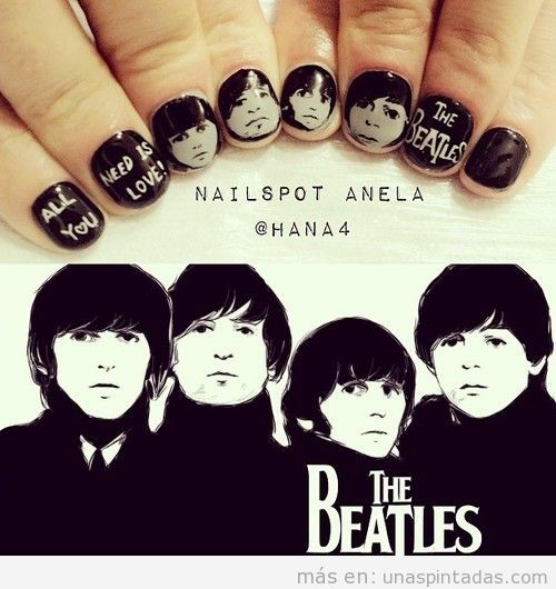 Decoración de uñas con las caras de The BEatles dibujadas