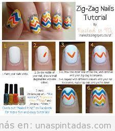 Tutorial paso a paso, diseño de uñas en zig-zag fácil