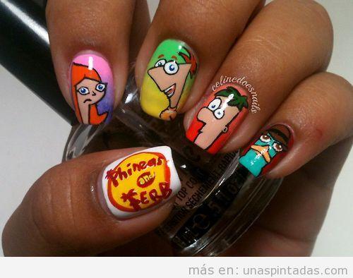 Diseño de uñas con dibujos de Phineas y Ferb