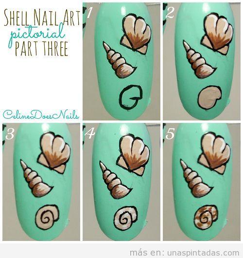 Tutorial paso a paso, dibujar una caracola de mar en las uñas