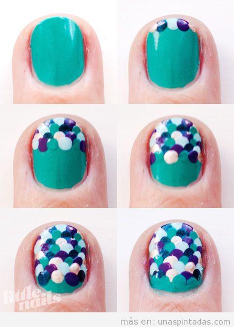 paso a paso para realiar un diseño de uñas con escamas de pescado