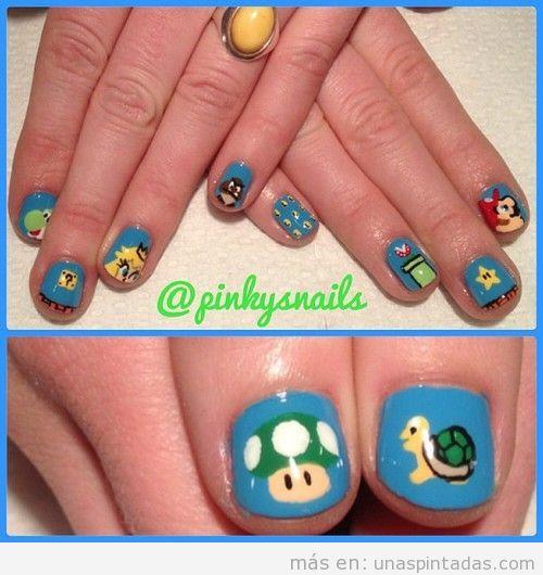Diseño de uñas con el dibujo de los personajes de Mario Bros