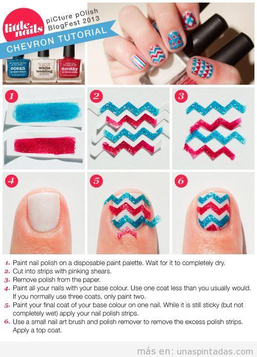 Tutorial paso a  paso para hacer un Nail Art en zigzag con cinta adhesiva