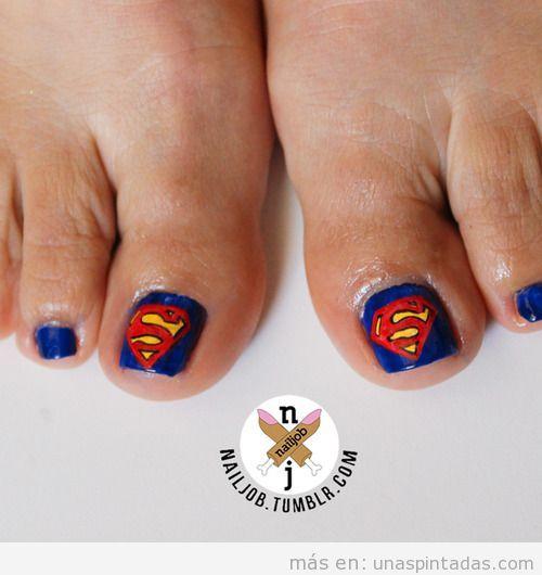 Nail Art para las uñas de los pies, Superman