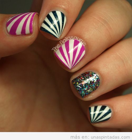 Tutorial paso a paso para aprender a decorar uñas rayas diagonal