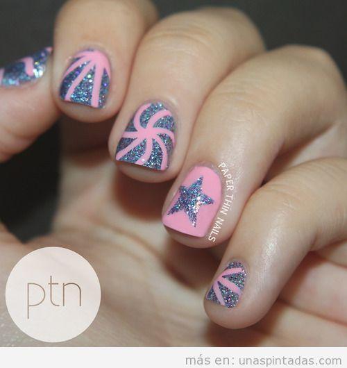 Diseño de uñas con estrellas de purpurina