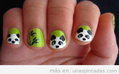 Uñas decoradas con ANIMALES: osos panda, hipopótamos, patitos, perros y más