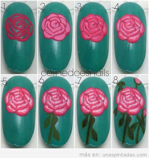 Tutorial para dibujar una rosa paso a paso en un diseño de uñas