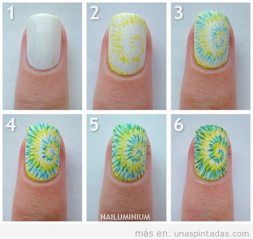 Tutorial paso a paso, decoración de uñas estilo psicodélico