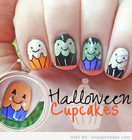 Nail Art divertido, Halloween cupcakes