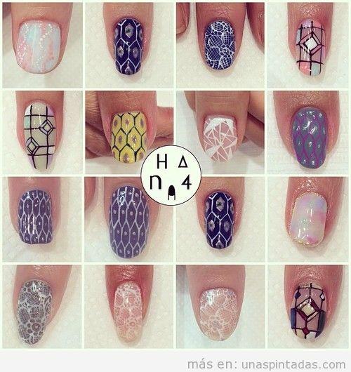 Ideas para hacer diseños de uñas elegantes con encaje, paneles y otros estampados