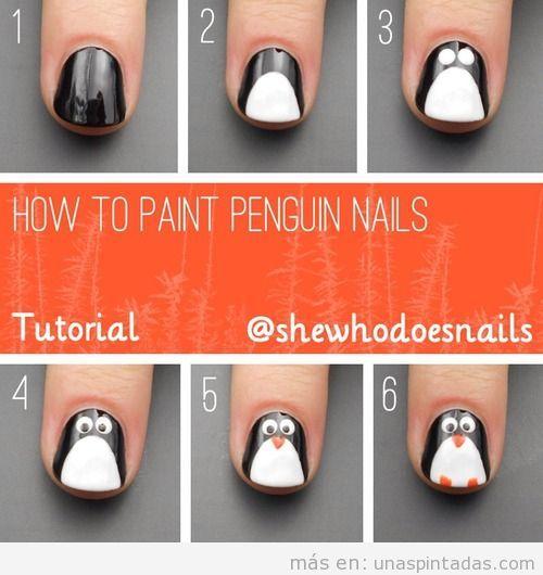 Tutorial para aprender a dibujar un pingüino en las uñas, paso a paso Nail Art