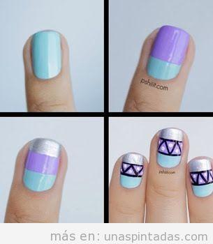 Tutorial Decoración de uñas paso a paso en azul, lila y plateado con motivo tribal