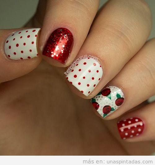 Decoración uñas con lunares, rosas y purpurina roja