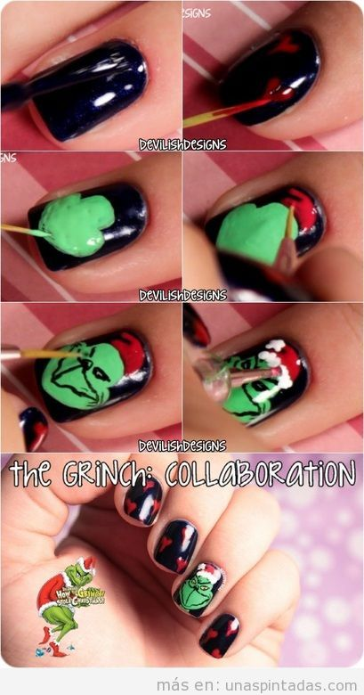 Tutorial El Grinch, Nail Art paso a paso
