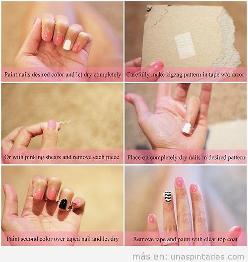 Tutorial paso a paso, decoración de uñas en zigag con celo o cinta adhesiva
