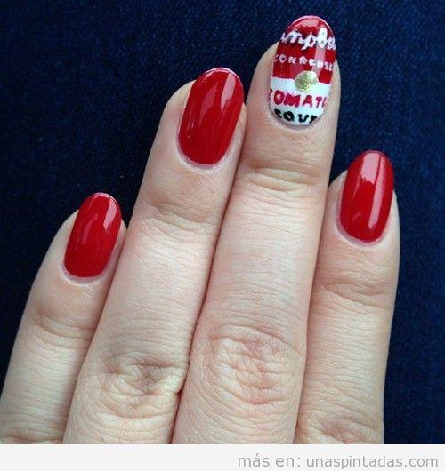 Diseño de uñas Pop Art con la Sopa Campbell