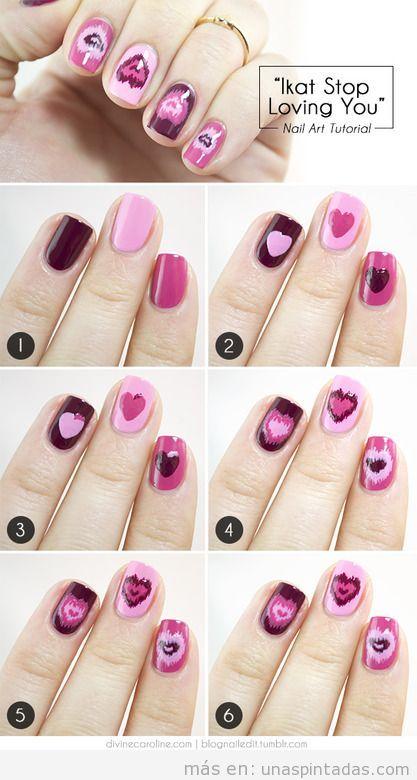 Nail Art de corazones para San Valentín
