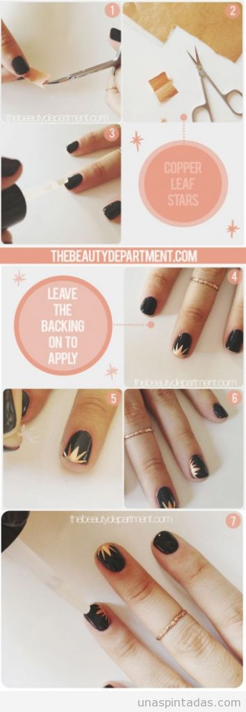 Tutorial paso a paos, diseño de uñas con destello en hojas de cobre