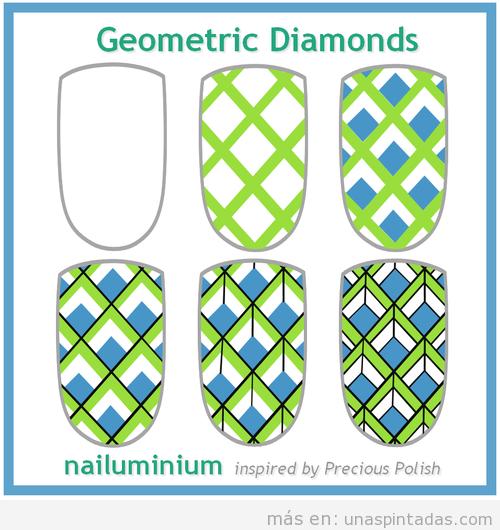 Tutorial paso a paso, Nail Art con dibujo de estampado diamantes geométricos