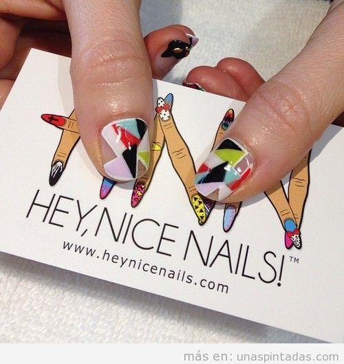 Decoración de uñas, estampado mosaico geométrico de colores