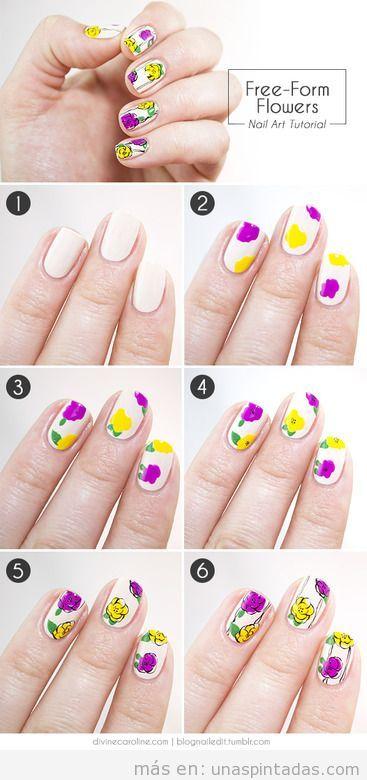 Tutorial diseño de uñas, cómo dibujar flores en las uñas
