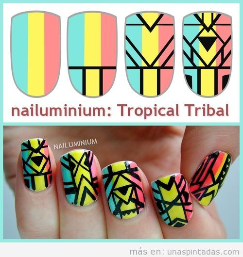 Tutorial paso a paso, aprender a dibujar un estampado tribal tropical en la decoración de uñas