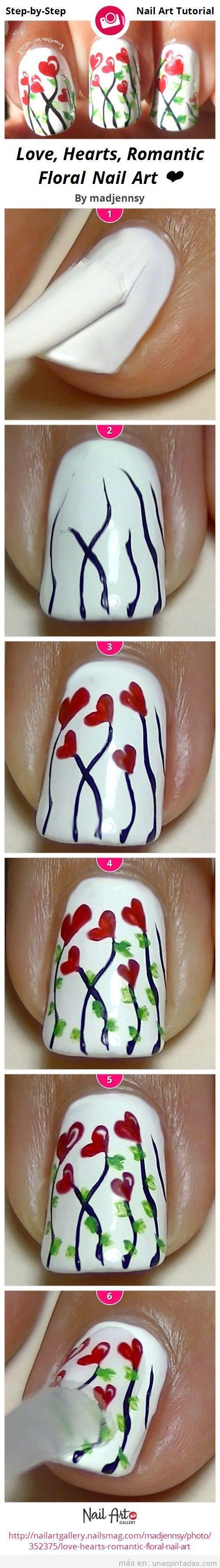 Tutorial para aprender a hacer un diseño de unas con flores de corazones