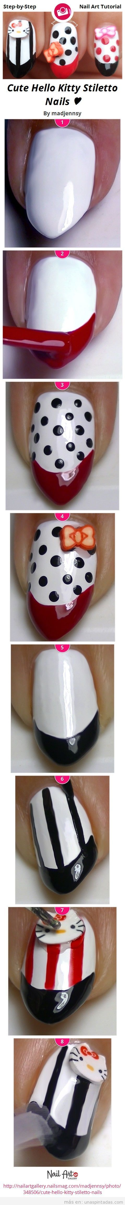 Tutorial paso a paso, Nail Art de rayas y lunares de Hello Kitty
