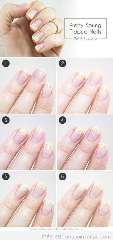 Tutorial diseño uñas flores pequeñas amarillas y blancas