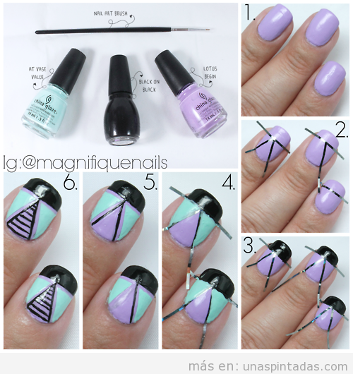 tutorial nail art motivo geomtrico tringulos paso a paso esta decoracin de uas with como hacer decoracion de uas