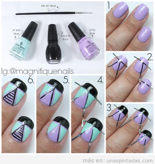 Tutorial Nail Art motivo geométrico triángulos, paso a paso