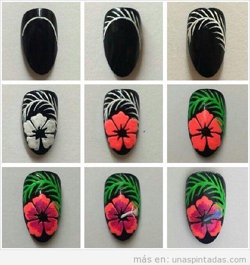 Decoración uñas verano, tutorial aprender dibujar flor tropical en las uñas