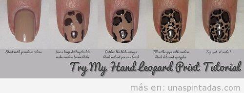 Nail Art print leopardo tutorial paso a paso