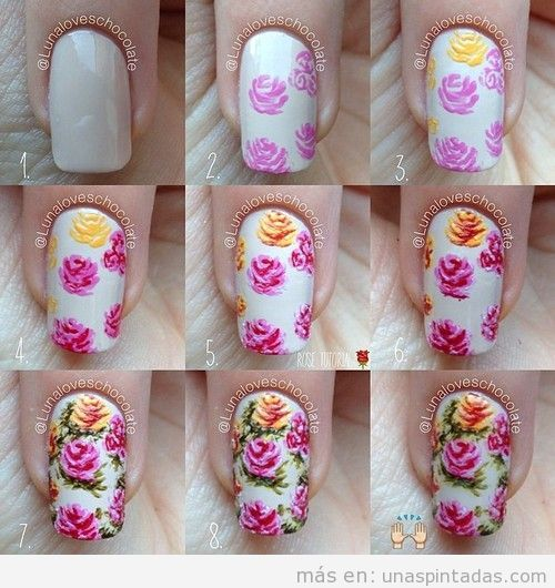 Unas Decoradas Con Rosas Las Flores Mas Romanticas En Tus Unas