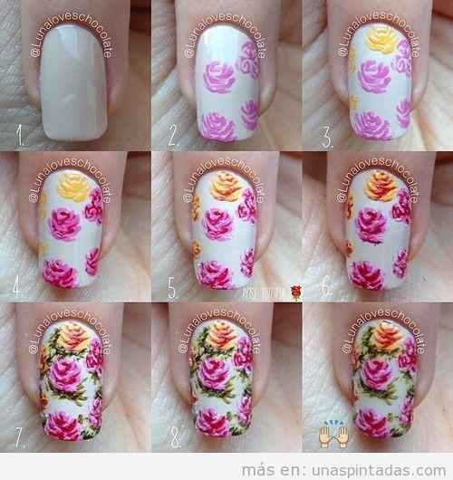 Tutorial dibujar rosas en el diseño de uñas