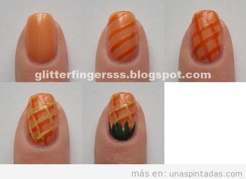 Tutorial para aprender a dibujar una piña en el diseño de uñas