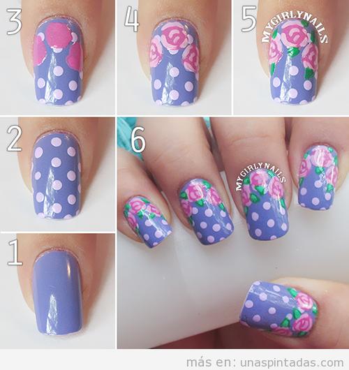 Tutorial para aprender a hacer un Nail Art con lunares y rosas