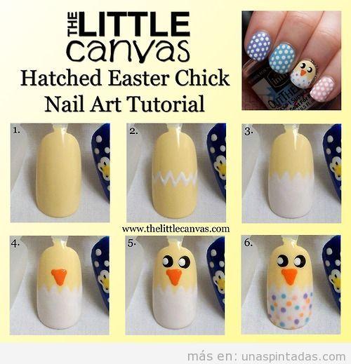 Tutorial paso a paso, Nail Art pollito de Pascua