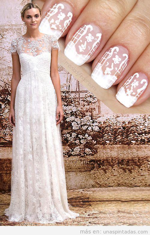 Diseño uñas novias inspirado en vestido de Monique Lhuillier