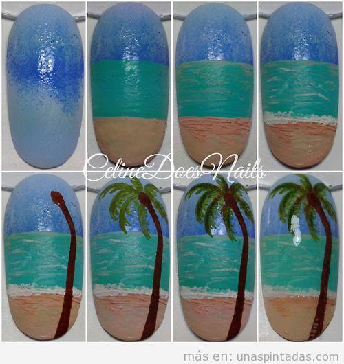 Tutorial para aprender a dibujar un Nail Art con playa y palmeras