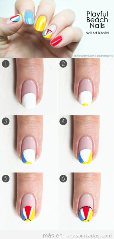 Tutorial para aprender a dibujar un balón de playa en las uñas