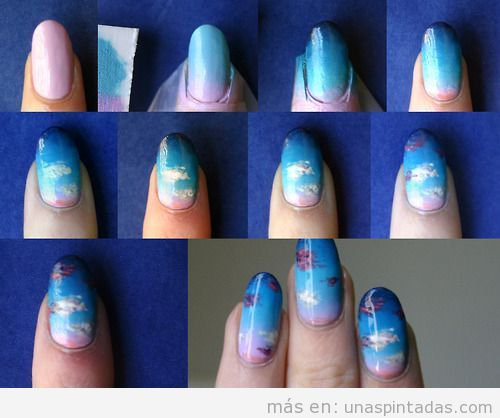 Cómo dibujar nubes al atardecer, tutorial nail art