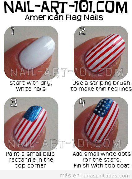 Tutorial Nail Art bandera USA 4 Julio