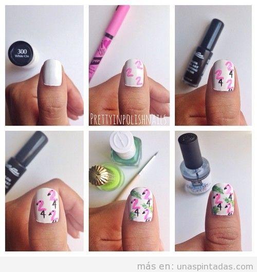 Tutorial dibujar un flamenco en las uñas, muy fácil
