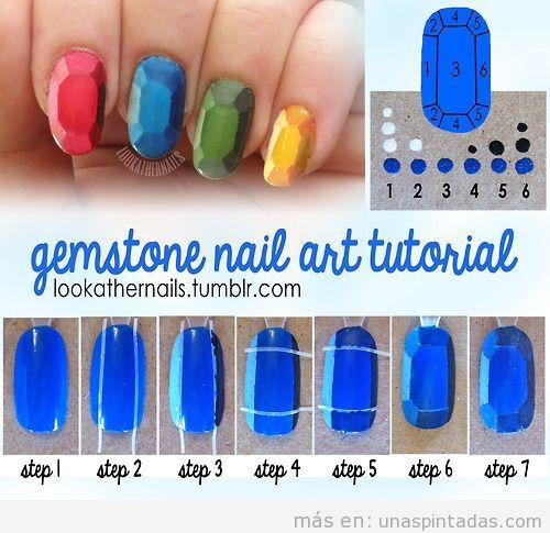 Tutorial para aprender a dibujar una piedra preciosa en el Nail Art
